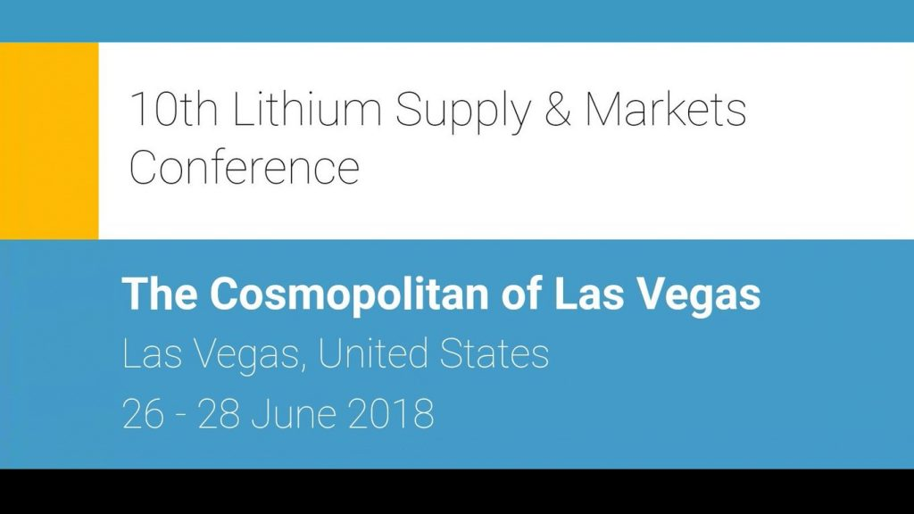 American Manganese Inc. Invited To Serve On A Panel By Metal Bulletin At The 10th Lithium Supply & Markets Conference June 26-28, 2018 In Las Vegas, Nevada